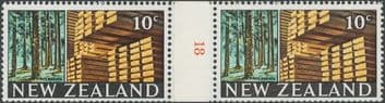 NZ Counter Coil Pair SG873 Trade Promotion Issue 10c Timber Industry Join No. 18 (NCC/411)